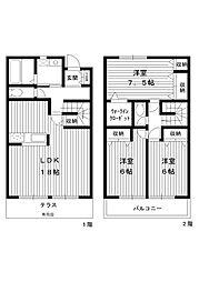 [テラスハウス] 東京都練馬区春日町4丁目 の賃貸【/】の間取り