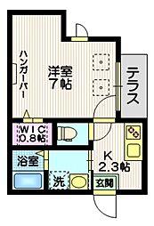 東急池上線 長原駅 徒歩3分の賃貸マンション 1階1Kの間取り