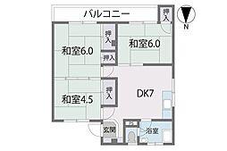 第1長尾団地[504号室]の間取り