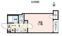 東武伊勢崎線 五反野駅 徒歩10分の賃貸マンション 2階1Kの間取り