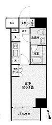 JR山手線 大崎駅 徒歩10分の賃貸マンション 14階1Kの間取り