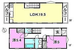 JR中央線 阿佐ヶ谷駅 徒歩5分の賃貸一戸建て 1階2LDKの間取り