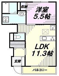 多摩都市モノレール 甲州街道駅 徒歩8分の賃貸アパート 1階1LDKの間取り