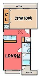 栃木県宇都宮市二荒町の賃貸マンションの間取り