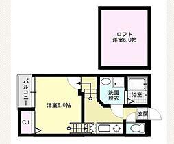 福岡県福岡市西区姪の浜6の賃貸アパートの間取り