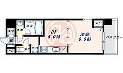 近鉄南大阪線 河堀口駅 徒歩7分の賃貸マンション 10階1DKの間取り