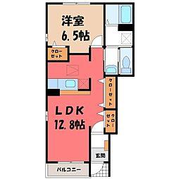 茨城県筑西市新治の賃貸アパートの間取り