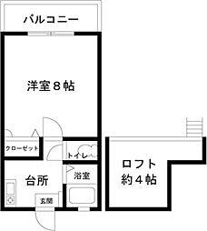 ステディハウス神松寺[102号室]の間取り