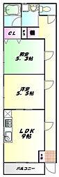 JR川越線 南古谷駅 徒歩3分の賃貸アパート 1階2DKの間取り