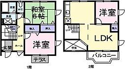埼玉県草加市長栄2丁目の賃貸アパートの間取り