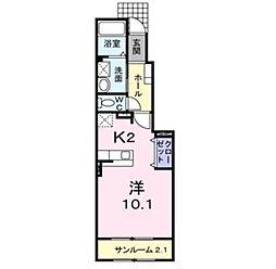 新潟県新発田市舟入町1丁目の賃貸アパートの間取り