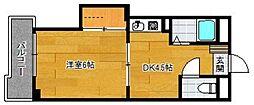 レジデンス石坂 1階1DKの間取り