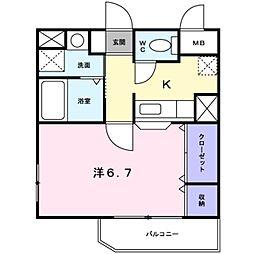 南海高野線 金剛駅 徒歩4分の賃貸アパート 2階1Kの間取り