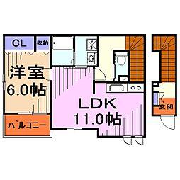 埼玉県戸田市笹目5丁目の賃貸アパートの間取り