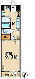 京王相模原線 京王多摩センター駅 徒歩10分の賃貸マンション 1階1DKの間取り