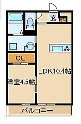 東武東上線 朝霞台駅 徒歩18分の賃貸アパート 1階1LDKの間取り