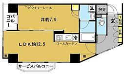 ユニーブル島津山 4階1LDKの間取り