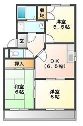 愛知県豊川市伊奈町古当の賃貸アパートの間取り