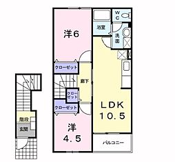 神奈川県厚木市下川入の賃貸アパートの間取り
