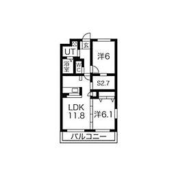 ベルエールA棟2階Fの間取り画像