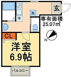 つくばエクスプレス 南流山駅 徒歩12分の賃貸アパート 2階1Kの間取り