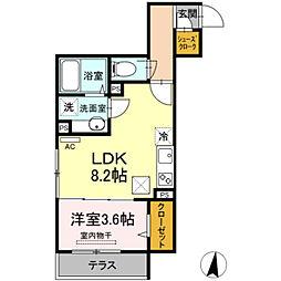 仮)D-room宿河原 3階1LDKの間取り