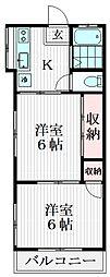 ハウス栄 2階2Kの間取り
