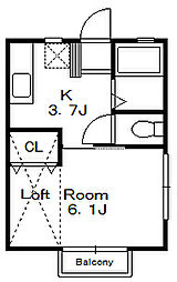 ロワール八幡A[2階]の間取り