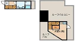 Glanlink Komazawa 3階ワンルームの間取り