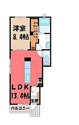 栃木県下野市石橋の賃貸アパートの間取り