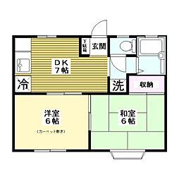 東京都板橋区西台2丁目の賃貸アパートの間取り