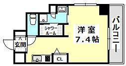 阪急京都本線 南茨木駅 徒歩1分の賃貸マンション 8階ワンルームの間取り