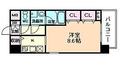 スプランディッドII 5階1Kの間取り