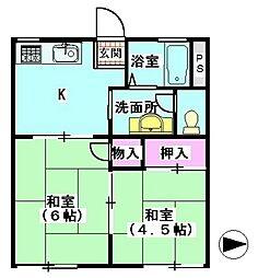 ファミール南蒲田[A202号室]の間取り