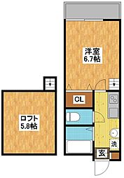 長崎県長崎市三原2丁目の賃貸アパートの間取り