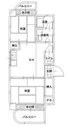 栗木第5ビル[702号室]の間取り
