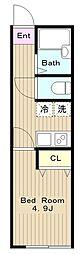 京王相模原線 稲城駅 徒歩7分の賃貸アパート 1階1Kの間取り