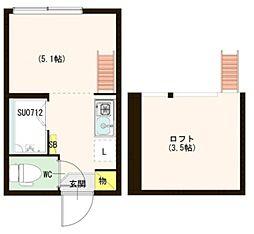 ハーモニーテラス北新宿 2階ワンルームの間取り