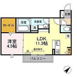JR飯田線 下地駅 徒歩13分の賃貸アパート 3階1LDKの間取り