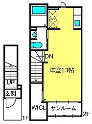 ホワイトヒューレII 2階ワンルームの間取り