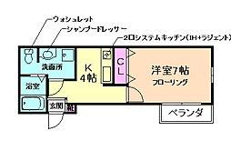大阪府豊中市刀根山元町の賃貸アパートの間取り