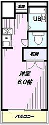 JR青梅線 東中神駅 徒歩8分の賃貸マンション 2階ワンルームの間取り