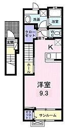 JR高崎線 宮原駅 徒歩16分の賃貸アパート 2階ワンルームの間取り