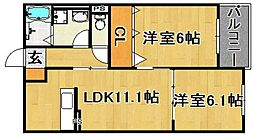 (仮)多々良IIアパート[202号室]の間取り