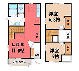 JR東北本線 雀宮駅 徒歩30分の賃貸テラスハウス 2階2LDKの間取り