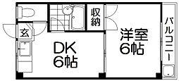 京阪本線 萱島駅 徒歩10分の賃貸マンション 3階1DKの間取り