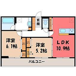 (仮)D-room石井町 F 2階2LDKの間取り