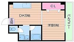 シャトー都島 2階1DKの間取り