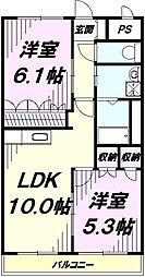 JR青梅線 福生駅 バス10分 花之岡下車 徒歩5分の賃貸アパート 1階2LDKの間取り