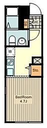 ion中野白鷺 4階ワンルームの間取り